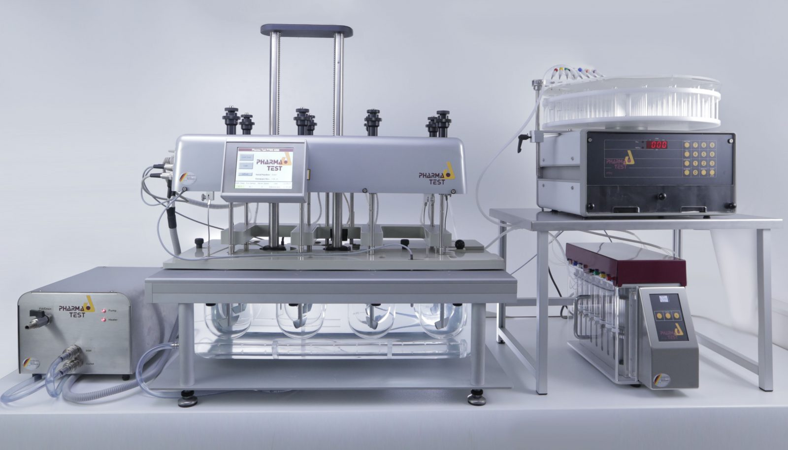 Offline automated dissolution system with 8 position bath.