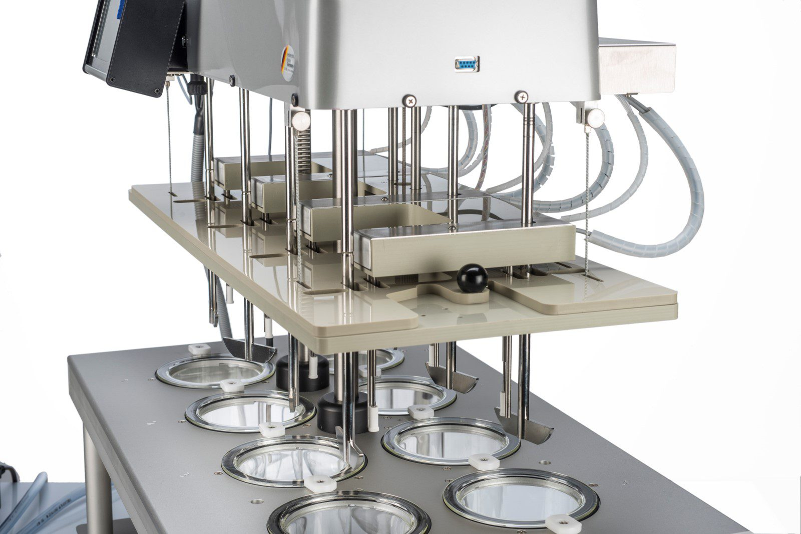 The EPE automated sampling manifold is driven into the test vessels at programmable intervals