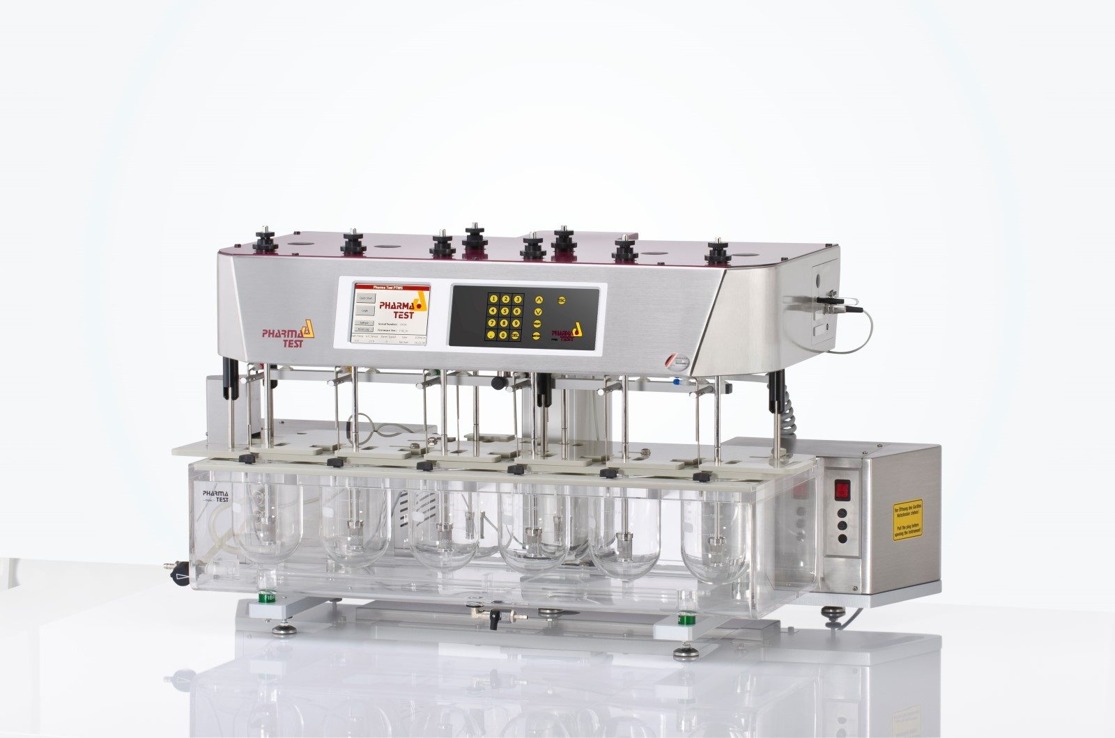 PTWS 620 dissolution tester - the 6 main test vessels are arranged in a single line for optimal visibility