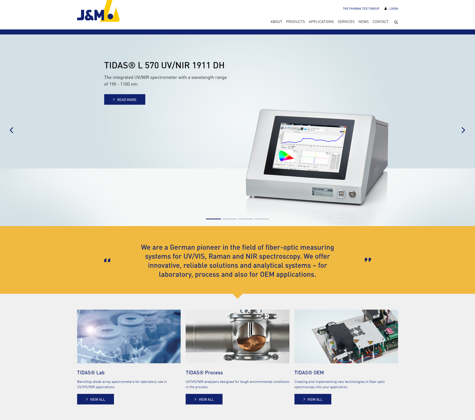 Old vs. new - current homepage of J&M (extract)