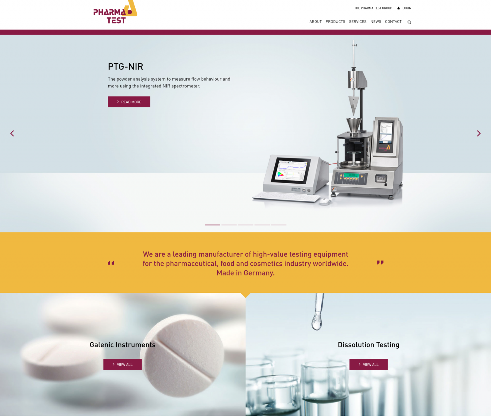 Old vs. new - current homepage of Pharma Test (extract)