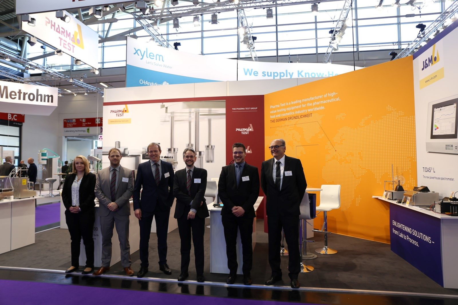 Some of the PHARMA TEST GROUP staff at analytica 2018 in anticipation of the event