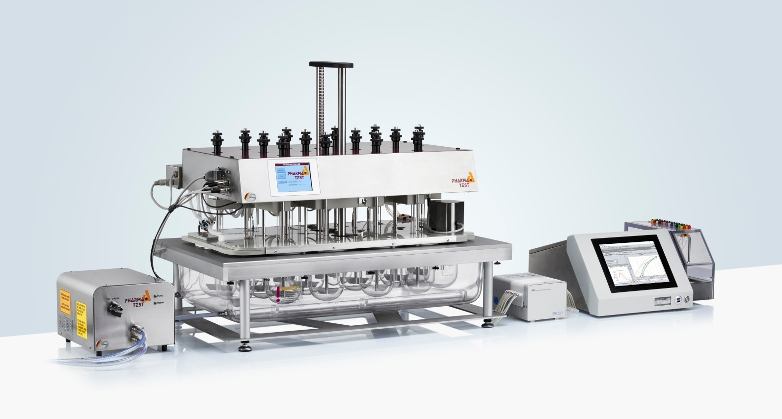 ADS-L Closed Loop Online System: for an online automated system it is possible to use the J&M TIDAS L UV/VIS spectrometer with a 16 position multiple-cell-changer. The spectrophotometer and pump of such a system is controlled by the powerful WinDiss ARGUS dissolution software running on the integrated PC of the TIDAS L spectrometer.