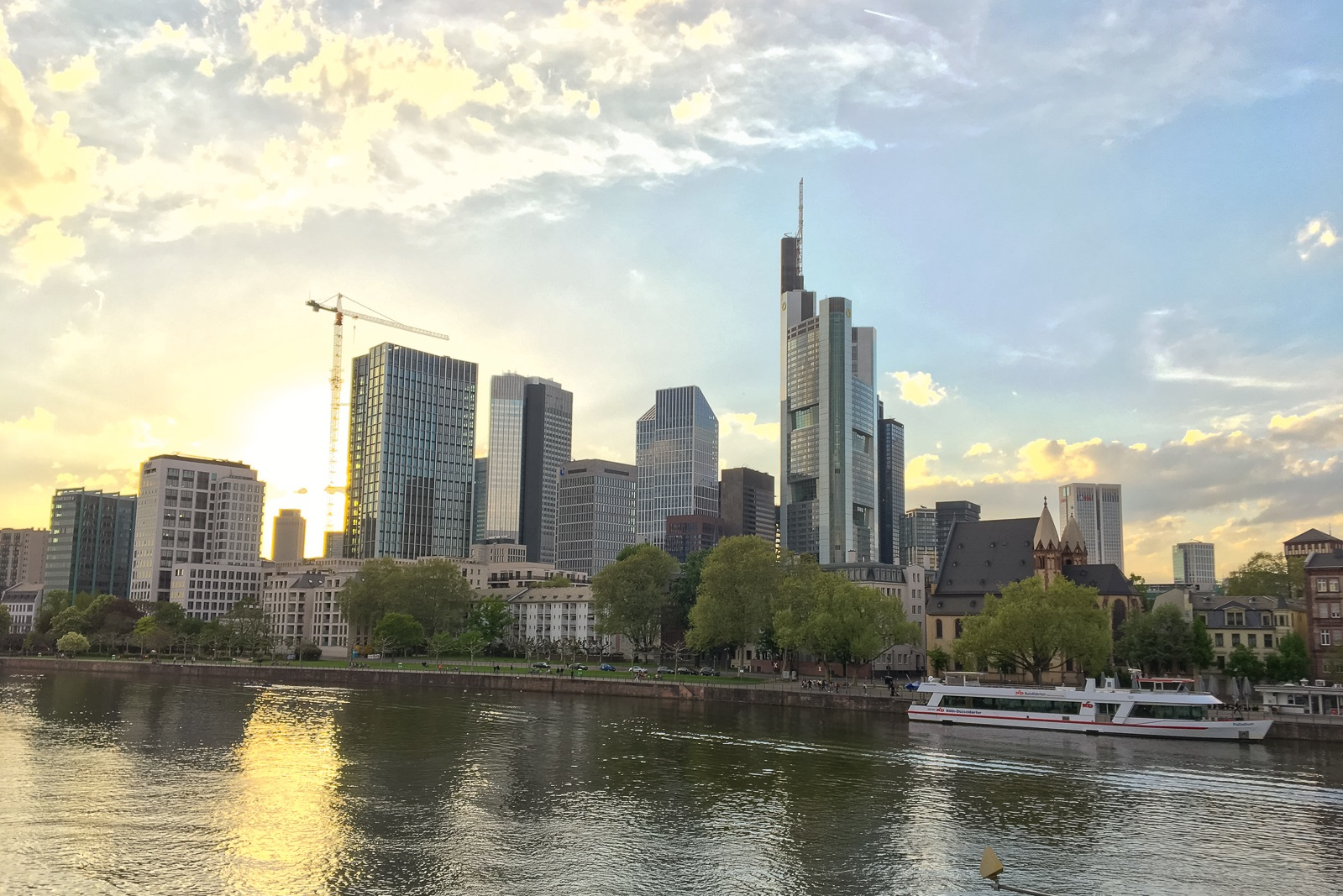 Skyline from Frankfurt/Main before sunset – venue for all ACHEMA exhibitions.