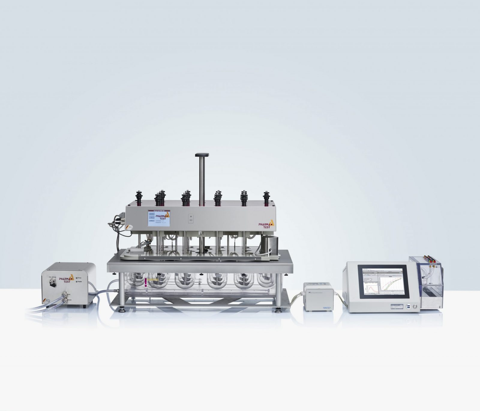 ADS-L Closed Loop Online System: for an online automated system it is possible to use the J&M TIDAS® L UV/VIS spectrometer with a 16-position multiple-cell-changer. The spectrophotometer and pump of such a system is controlled by the powerful WinDiss ARGUS dissolution software running on the integrated PC of the TIDAS® L spectrometer.