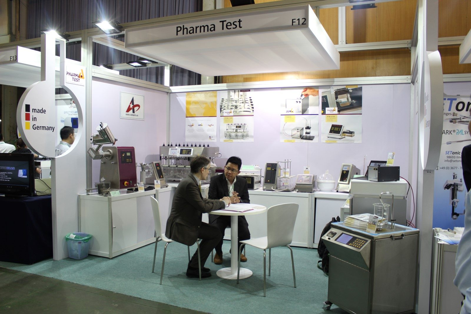 The Pharma Test booth at analytica Vietnam 2017 in Hanoi – here with a visit from Hans Anthony from PT Pharma Test Indonesia