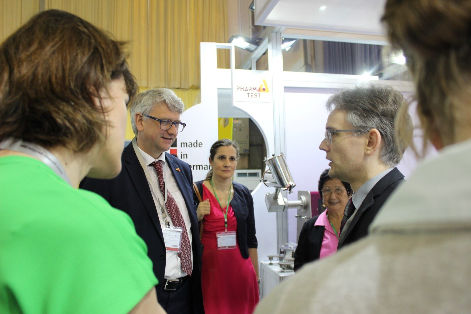 High-ranking appointed visit at the Pharma Test analytica Vietnam 2017 booth: German secretary Mr. Harald Kuhne (left) from the Federal Ministry of Economics and Energy came for a little chat