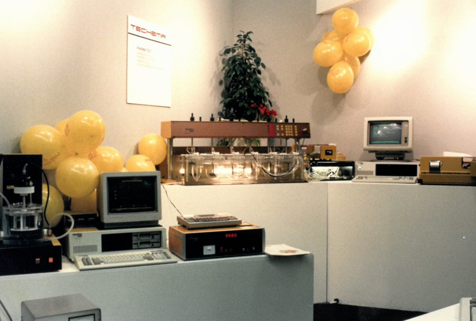Pharma Test booth at ACHEMA 1997 exhibiting both tablet dissolution testing and galenic instruments