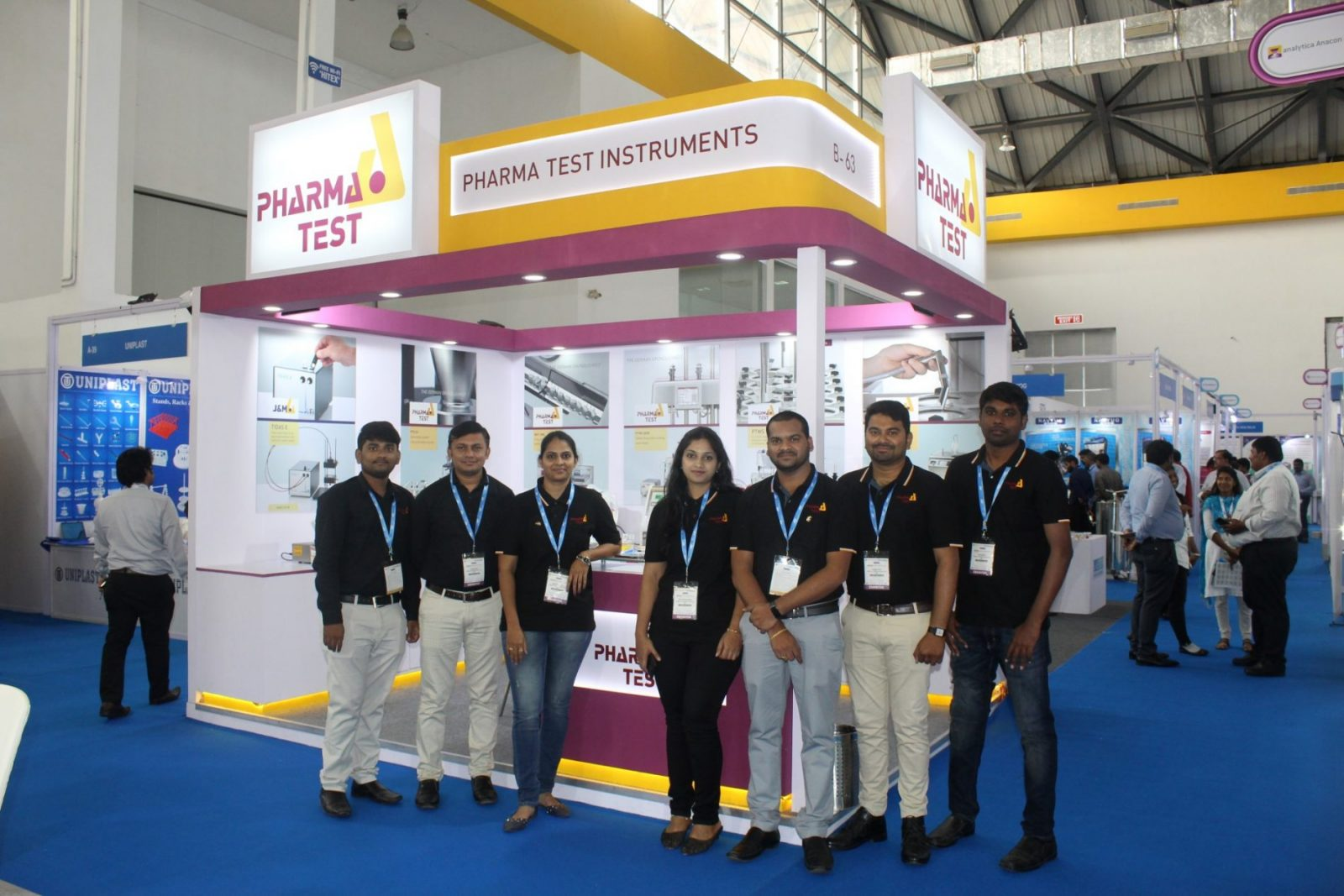 The team of Pharma Test India at their booth at analytica Anacon India & India Lab Expo 2019