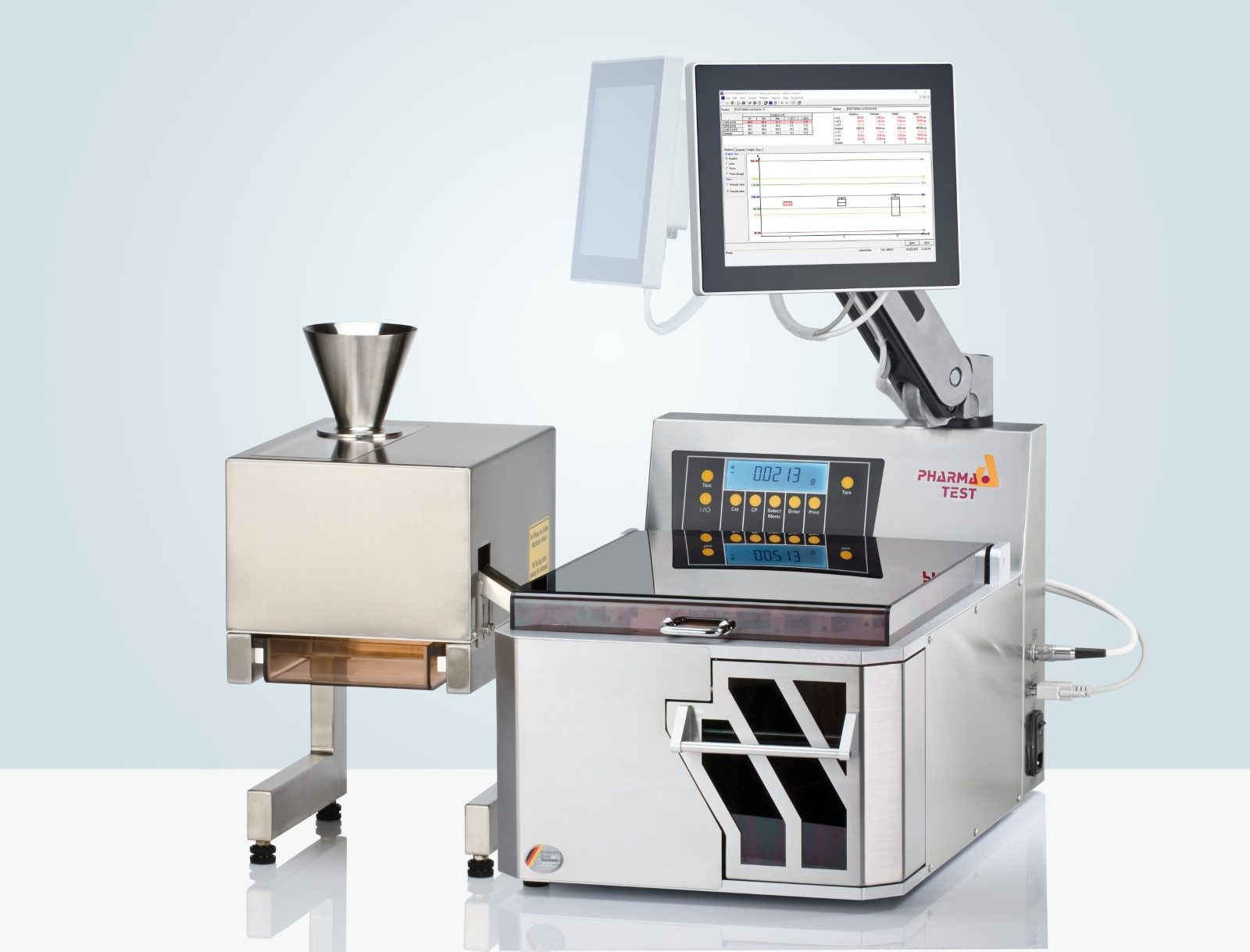 The fully automated 4-in-1 tablet testing instrument WHT 4 shown here with single batch feeder WHT 4-SM1