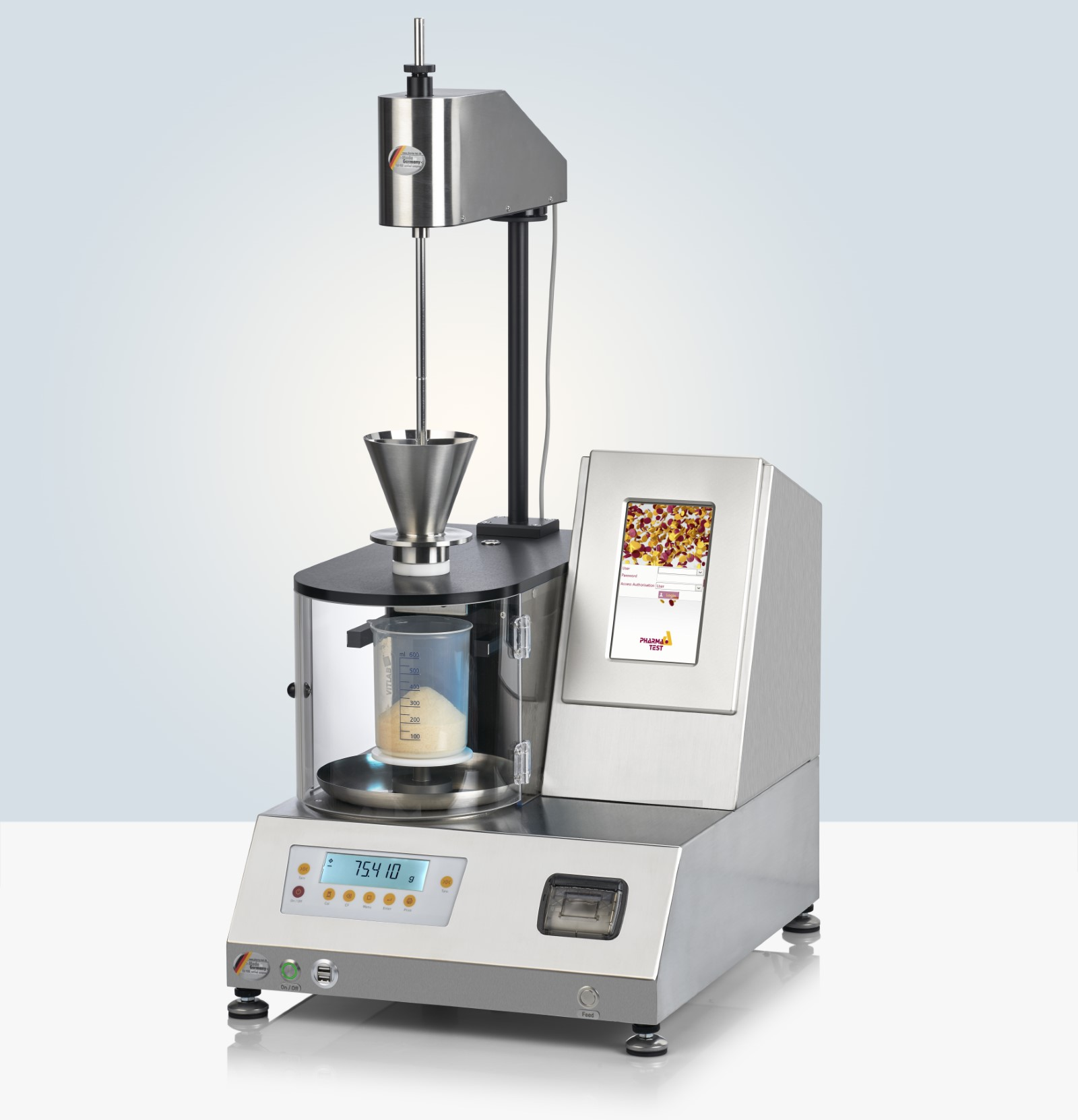The PTG-S5 is equipped with a clear view dust hood, made from anti-static material, to protect the user from most of the dust during the powder analysis. This hood can easily be opened or removed completely for cleaning. The instrument is operated using a large color touch screen.