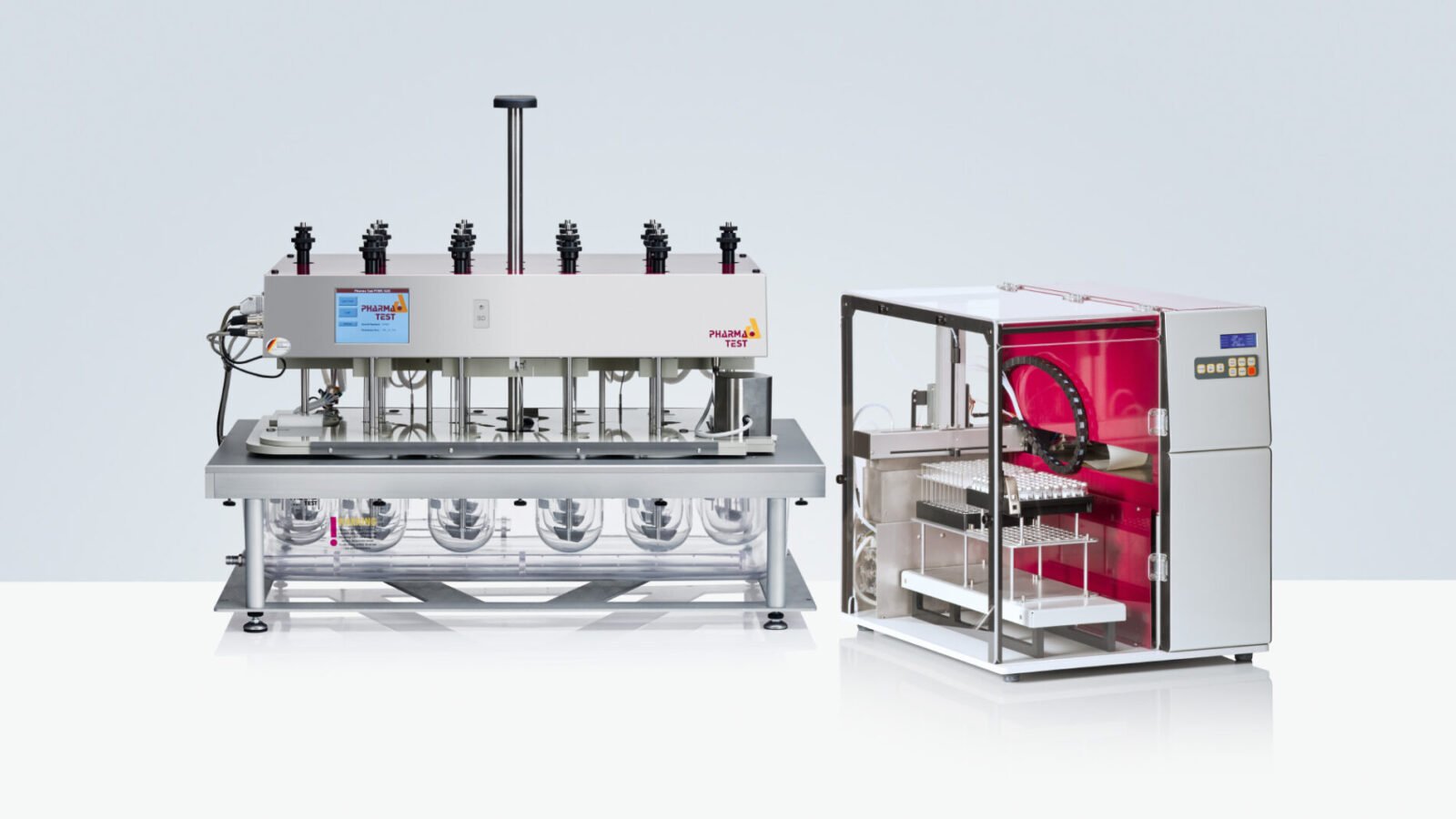 The DSR-M sampling robot combined with the PTWS 1420 tablet dissolution testing instrument is a 14+2 position semi-automated dissolution testing system designed for comparative studies such as Biowaivers