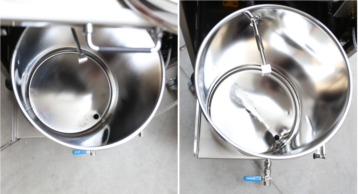 Old vs. new: The old tank on the left with a flat bottom, the new and improved tank on the right with the sloping bottom which simplifies the draining